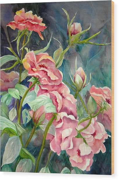 Provence Roses Wood Print by Becky Taylor