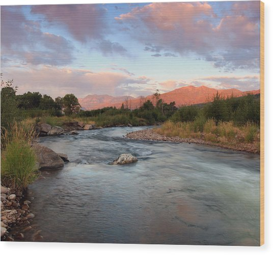 Provo River Sunrise Wood Print