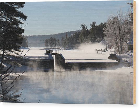 Winter  Pine River Pond  Wood Print