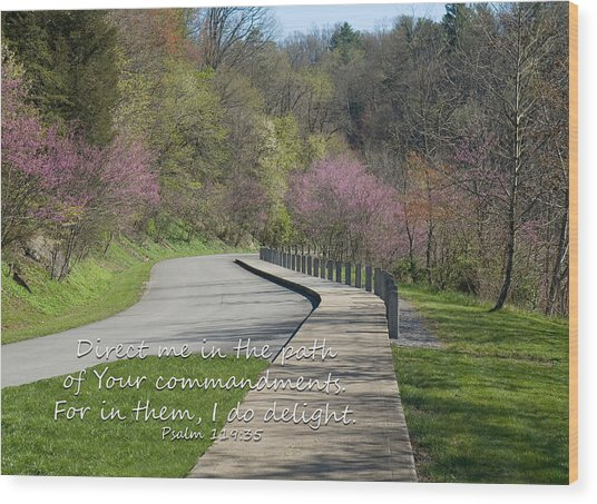 Psalm 119 Direct Me In The Path Wood Print