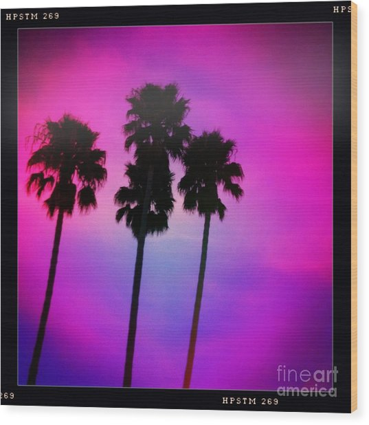 Psychedelic Palms Wood Print
