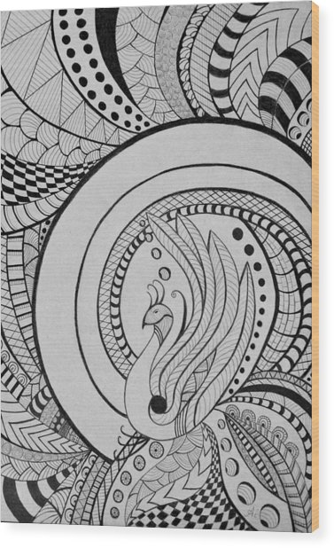 Zentangle Peacock Art, Pen Drawing, Feather Bird, Abstract Art Wood Print