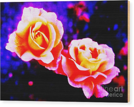 Psychedelic Roses Wood Print