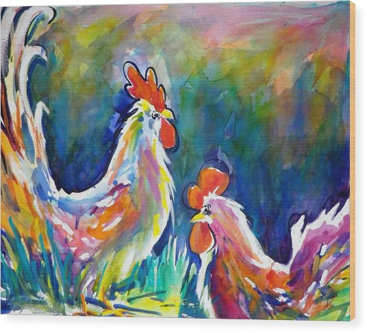Psychodelic Cluckers Wood Print by Therese Fowler-Bailey
