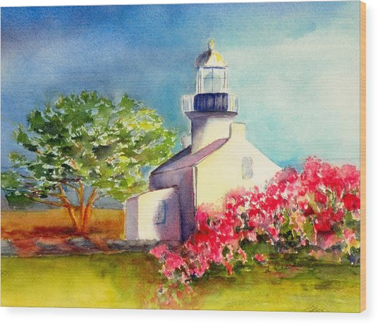 Pt Loma Lighthouse Wood Print by Lori Chase
