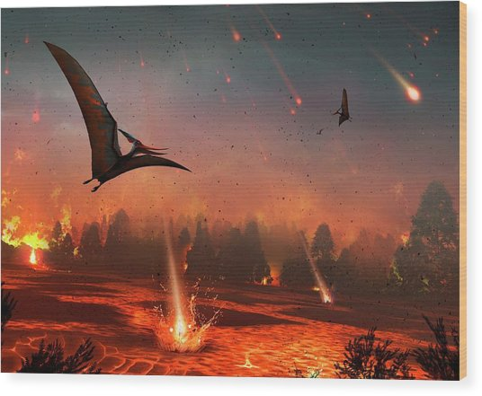 Pterosaurs And Mass Extinction Wood Print by Mark Garlick
