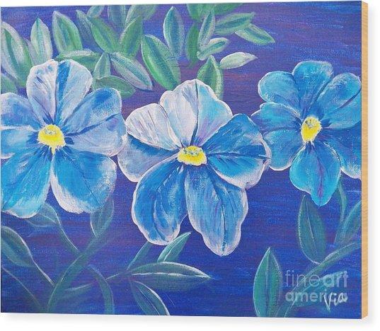 Ptg. Blue Million Bells Wood Print
