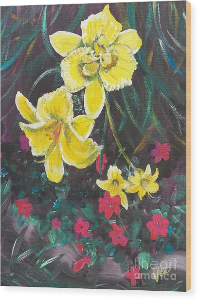 Ptg. Day Lillies And Impatients Wood Print