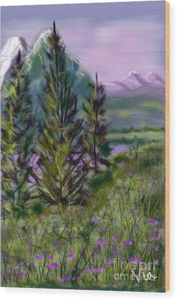 ptg.  Mountain Meadow Pond Wood Print