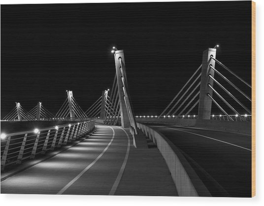 Ptuj Bridge Bw Wood Print