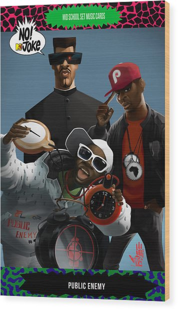 Public Enemy Ntv Card Wood Print