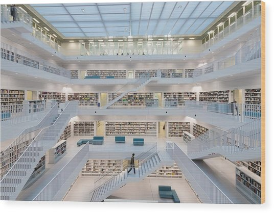 Public Library Stuttgart - Modern Architecture And Lots Of Books Wood Print