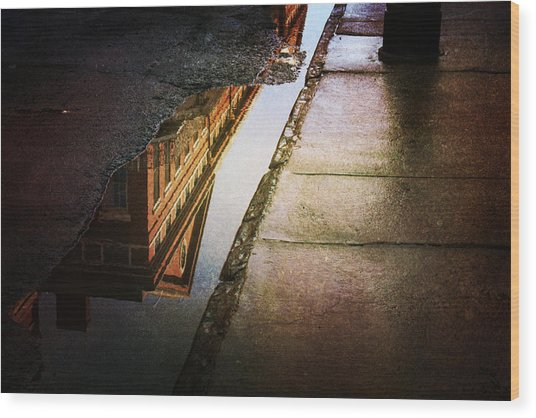 Puddles Of The Past Wood Print
