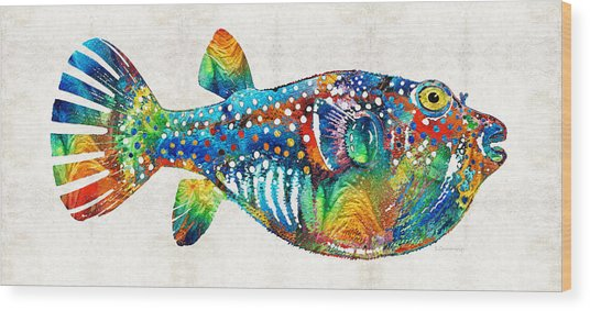 Puffer Fish Art - Blow Puff - By Sharon Cummings Wood Print