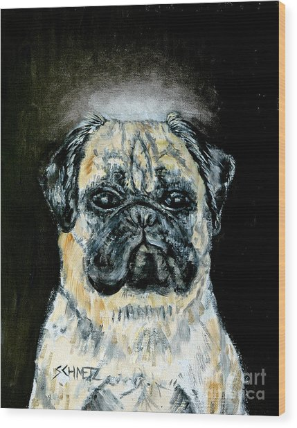 Pug Angel Wood Print by Jay  Schmetz