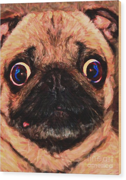 Pug Dog - Painterly Wood Print by Wingsdomain Art and Photography