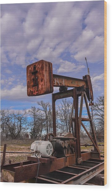 Pump Jack Wood Print by Kelly Kitchens