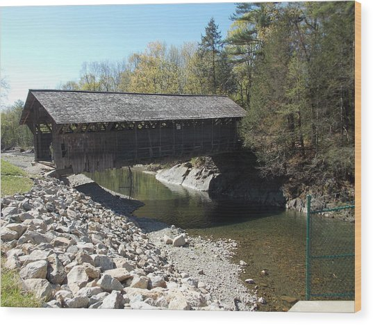 Pumping Station Covered Bridge Wood Print