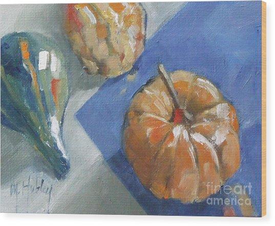 Pumpkin And Gourds Still Life Wood Print