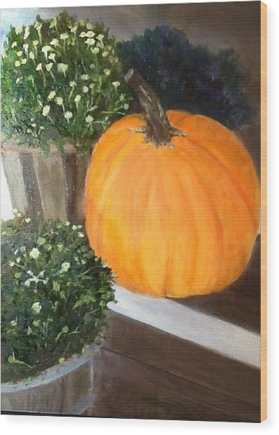 Pumpkin On Doorstep Wood Print