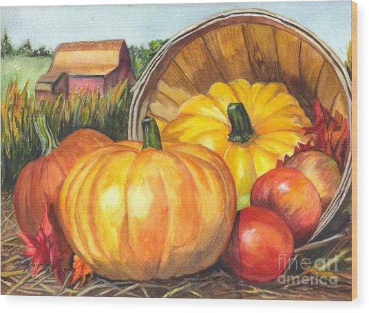 Pumpkin Pickin Wood Print