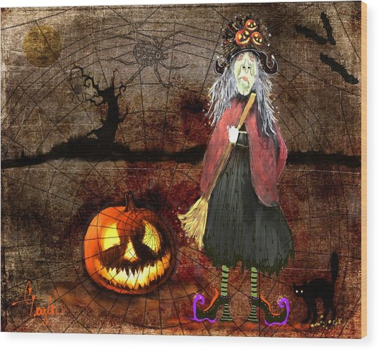 Pumpkinella The Magical Good Witch And Her Magical Cat Wood Print
