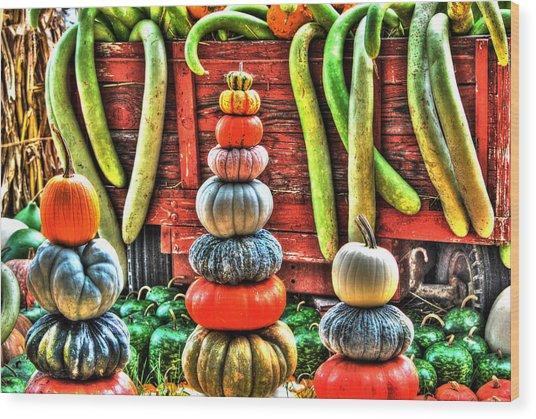 Pumpkins And Gourds Wood Print
