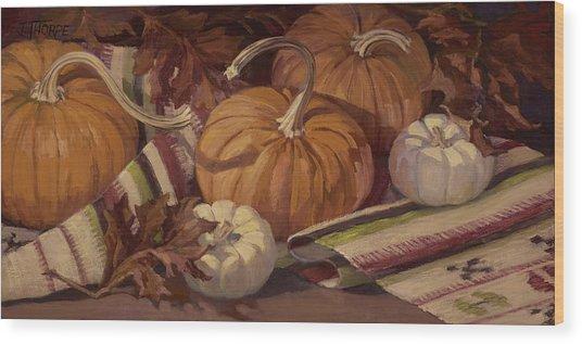 Pumpkins And Leaves Wood Print