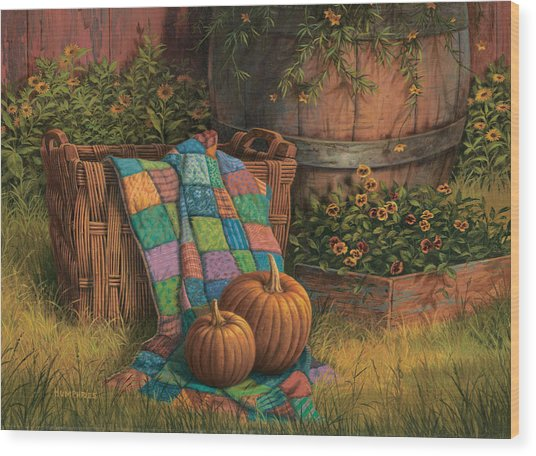 Pumpkins And Patches Wood Print