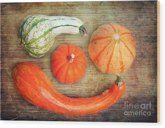 Pumpkins Wood Print by Angela Bruno