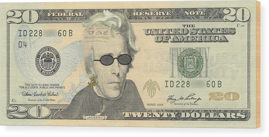 Punk 20 Dollar Bill Wood Print