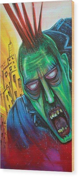 Punk Rock Zombie Wood Print by Laura Barbosa