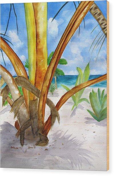 Punta Cana Beach Palm Wood Print