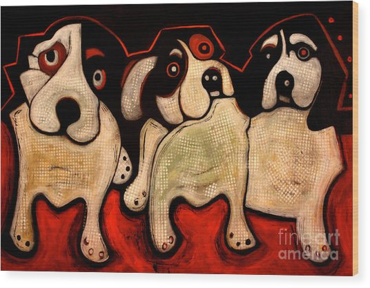 Puppies In A Row Wood Print
