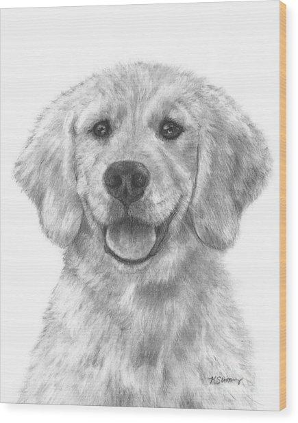 Puppy Golden Retriever Wood Print