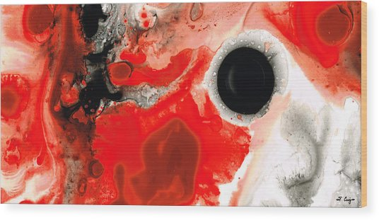 Pure Passion - Red And Black Art Painting Wood Print