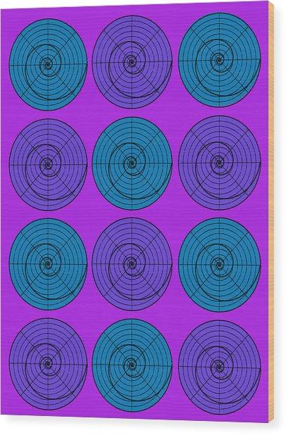 Purple Aqua Orb Circle Bubble Pop A La After Warhol Wood Print