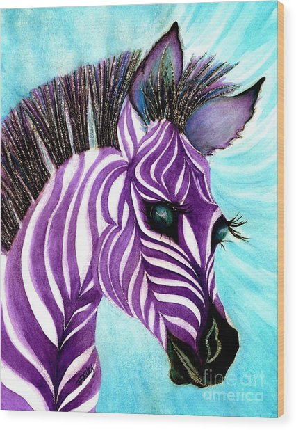 Purple Baby Zebra Wood Print