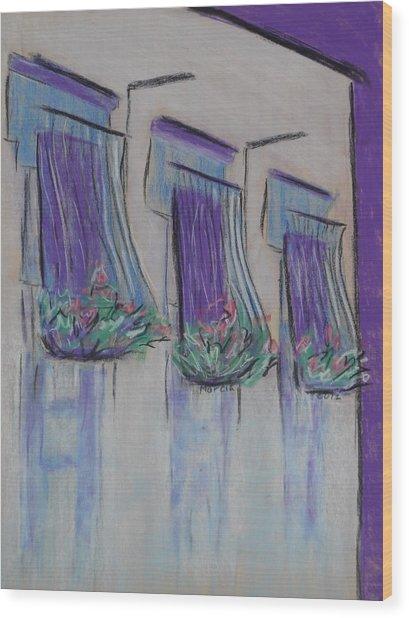 Purple Balconies Wood Print by Marcia Meade