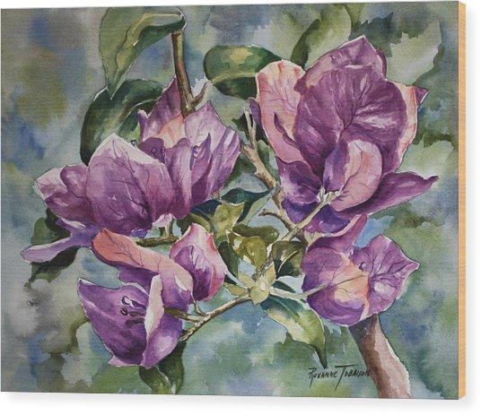 Purple Beauties - Bougainvillea Wood Print