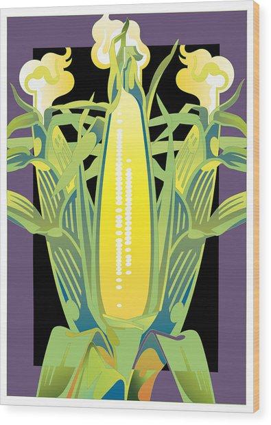 Purple-black Corn Wood Print