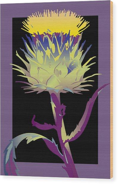 Purple-black Thistle Wood Print