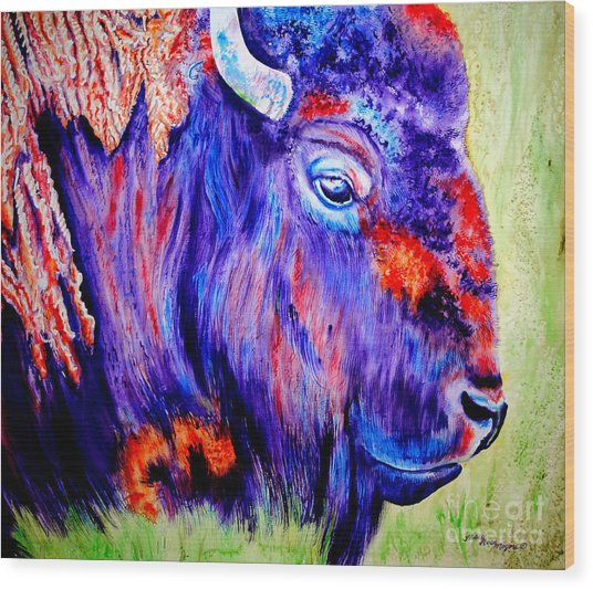 Purple Buffalo Wood Print by Tracy Rose Moyers
