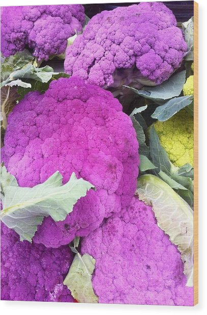 Purple Cauliflower Wood Print