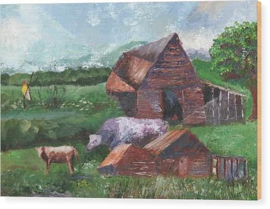 Purple Cow And Barn Wood Print by William Killen
