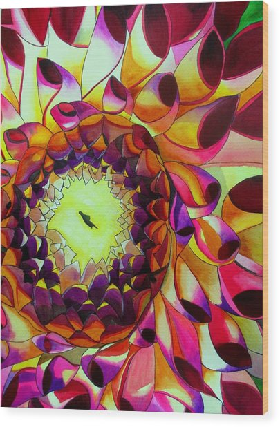 Purple Dahlia Wood Print by Sacha Grossel