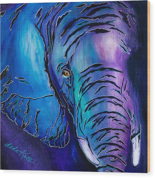 Purple Elephant Wood Print