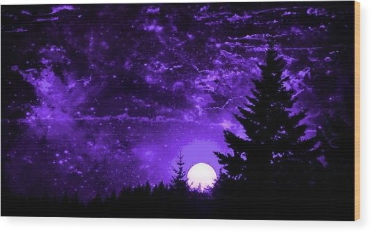Purple Fantasy Sunset Wood Print