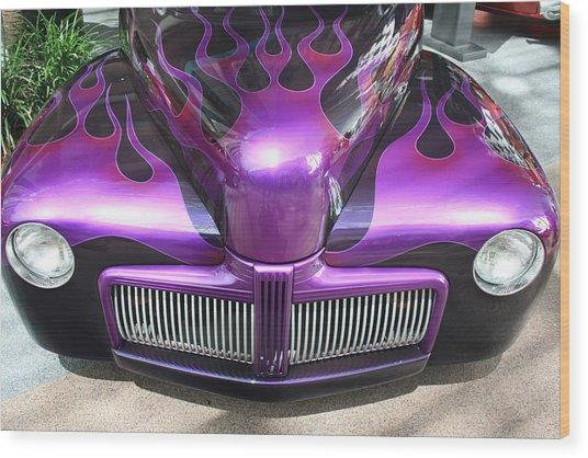 Purple Flames Wood Print