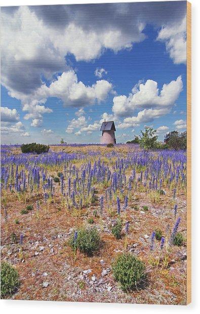 Purple Flower Countryside Wood Print